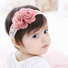 hair ornaments new children hair accessories pink roses lace baby hair band baby