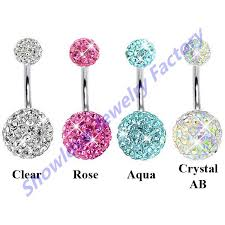 ball belly rings images Showlove 4pc mixed color navel rings glitter cz ball navel belly jpg