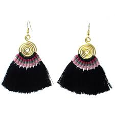 Fair Trade Home Decor Tribal Spiral Tassel Earrings Black Handmade And Fair Trade