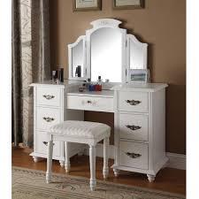 Folding Vanity Table Torian 3 Pc Vanity Set Tri Fold Mirror Table W 7 Drawers Stool