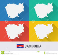 Flat World Map Cambodia World Map In Flat Style With 4 Colors Stock Photo
