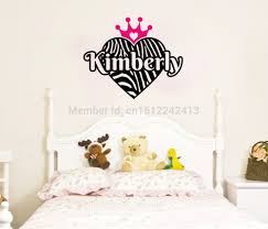 online get cheap personal quote aliexpress alibaba group personalized zebra print heart princess wall stickers crown custom name vinyl quote home decoration nursery