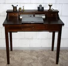 Schreibtisch Echtholz Sekretär 100x91x57cm 1 2 Schubladen Pappel Massiv Nussbaumfarben