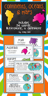 continents oceans and maps word wall cards definitions
