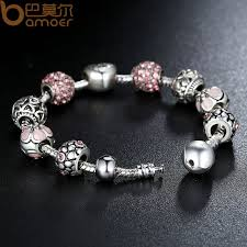 bracelet charm crystal images Bamoer antique 925 silver charm bracelet bangle with love and jpg
