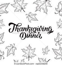 thanksgiving dinner brush lettering isolated on white