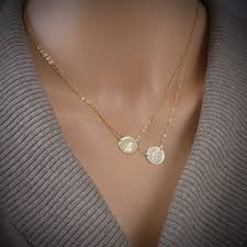 double layered necklace images Double layered initial necklace two large discs center stamped jpg