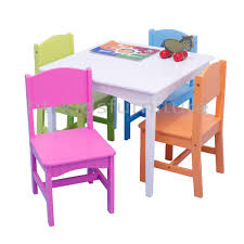 pastel wood easy assembly kids wooden table and four matching