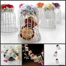 new wedding favor boxes white metal bell birdcage shaped with