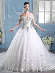 ivory a line straps neck beading cathedral wedding dress - Milanoo Robe De Mari E