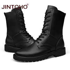 jintoho large size genuine leather boots men military desert boot