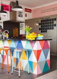 Triangle Kitchen Island 25 Colorful Kitchens To Inspire You