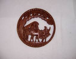 triple a resale wooden asian oxen wagon wall plaque