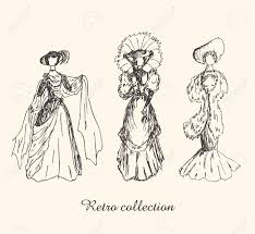 set with sketches of women in retro clothes ladies in vintage