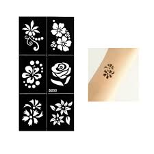 1 pc waterproof temporary henna small rose flowers stencil tattoo