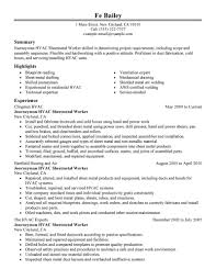 Resume Examples For Factory Workers by Hvac Resume Examples