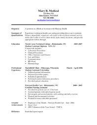 Career Objective Resume Examples by Resume Examples Medical Assistant Resume Template Microsoft Word