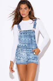 jumpsuit shorts hart ethnic print blue denim suspender jean shorts romper jumpsuit