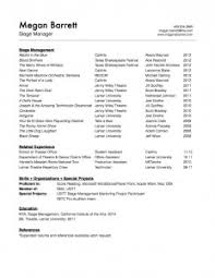 Acting Resume Special Skills Examples by Stage Manager Resume Berathen Com