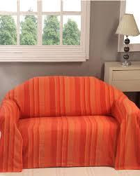 jetés de canapé jeté de lit ou de canapé morocco rayures orange homescapes