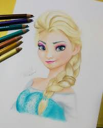 color pencil drawing of elsa frozen by iicepink on deviantart