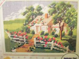vintage needlepoint kit summer cottage bucilla 33439 kit