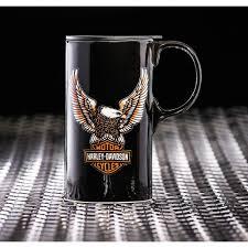 amazon com harley davidson travel latte mug bar u0026 shield eagle