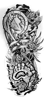 sketch half sleeve skull design pictures