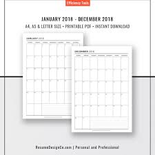 free resume template 2017 download monthly calendar planner refills 2018 monthly calendar a4 a5 letter size