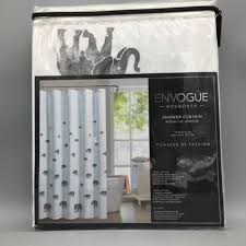 shop envogue bosworth fabric shower curtain lucky elephant grey
