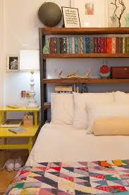 Nightstand Bookshelf Bedrooms Cozy Bedroom With Yellow Nightstand And Rustic Wooden