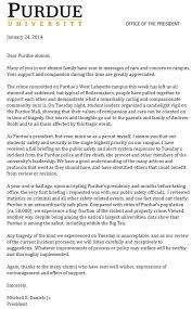 purdue alumni search sends letter to purdue alumni commends students for vigil