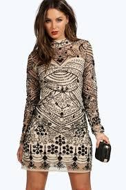 embellished dress boutique embellished high neck bodycon dress boohoo