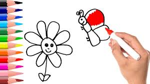 how to draw a simple flower u0026 butterfly learning coloring pages
