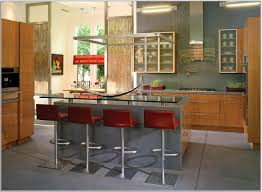 interesting blue counter for modern kitchen design in wide space