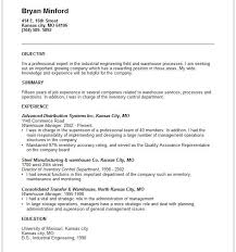 Resume Objective For It Job by Warehouse Job Resume Sample Driver Resume Sample Resume For