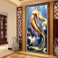 Mermaid Home Decor Aliexpress Com Buy Diy Full Diamond Painting Resin Square Drill