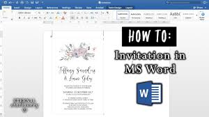 How To Word A Wedding Invitation How To Make An Invitation In Microsoft Word Diy Wedding