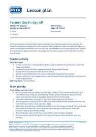 lesson plan farm animals farmer duck u0027s day off by rspca