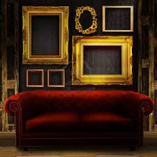 The Red Sofa Love The Dark Walls Golden Frames And Red Sofa Have The Red Sofa
