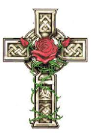 celtic cross with and vines cross stitch pattern