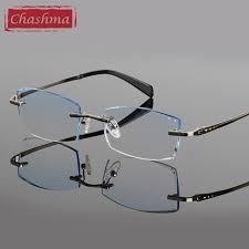 mens light tint sunglasses chashma brand eye glass pure titanium rimless glasses tint lenses
