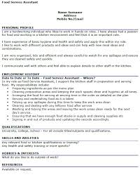 Food Service Resume Example by Food Service Assistant Cv Example Icover Org Uk
