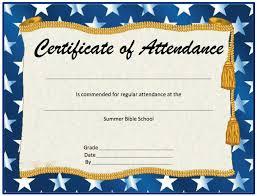attendance award certificate templates perfect attendance
