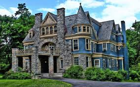 houses victorian home gray grass blue sky door brick trees
