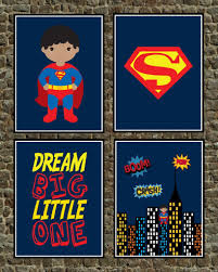 Superman Bedroom Decor by African American Superhero Set Of 4 Wall Art Prints Superman