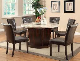brown wooden dining table with round white granite top combined by