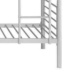 Silver IKayaa Modern SingleOverSingle Metal Bunk Bed Frame With - Metal bunk bed ladder