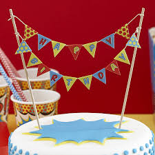 Indian Flag Cake Pop Art Superhero Happy Birthday Cake Bunting By Ginger Ray