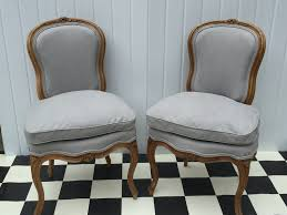 Grey Linen Cushions Pair Of Louis Chairs Upholstered In Grey Linen Double Piping